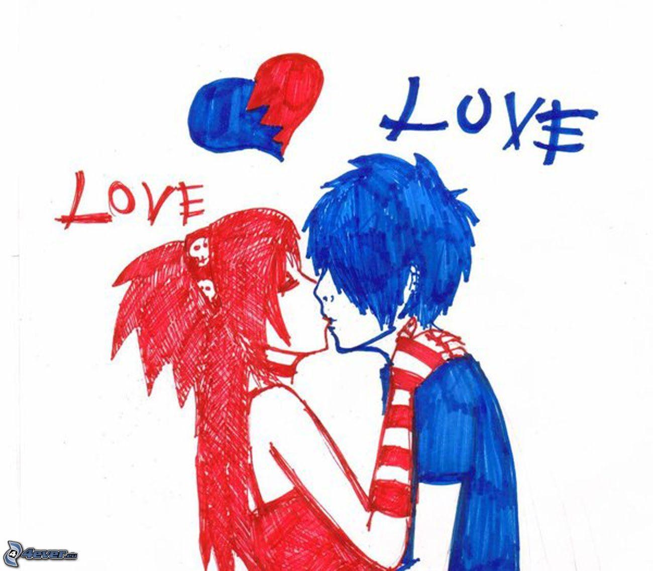 Emo Amor Dibujos Animados De Pareja Corazon Love 153412 Fotos