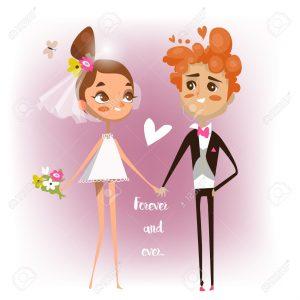 cute cartoon wedding couple in love