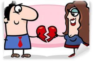 fotomurales-pareja-en-el-amor-de-dibujos-animados-de-san-valentin