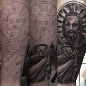 Tatuajes-de-San-Judas-Tadeo-blanco-y-negro