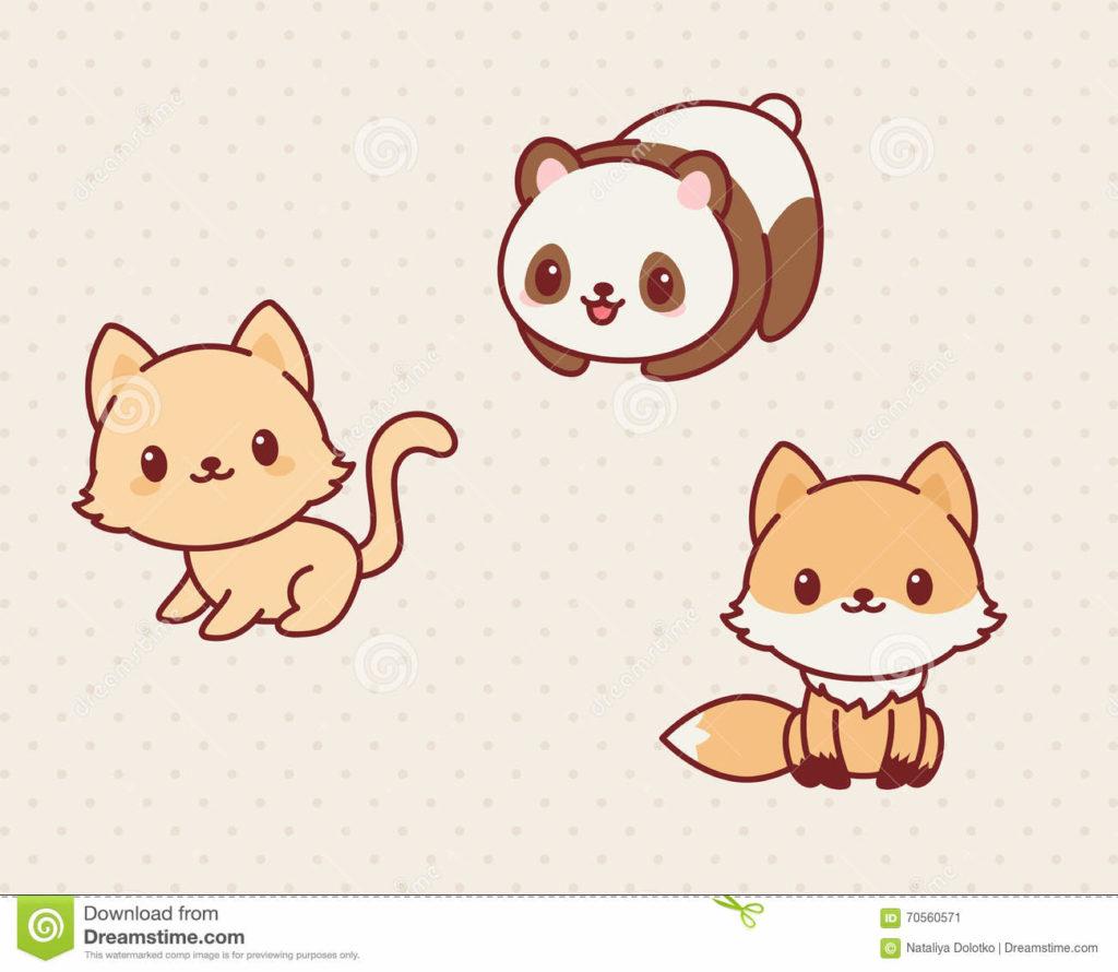 Dibujos kawai de animales para pintar