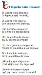 """""""El lagarto está llorando"""", un poema para niños de Federico García Lorca."""