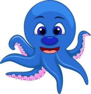 cute blue octopus cartoon