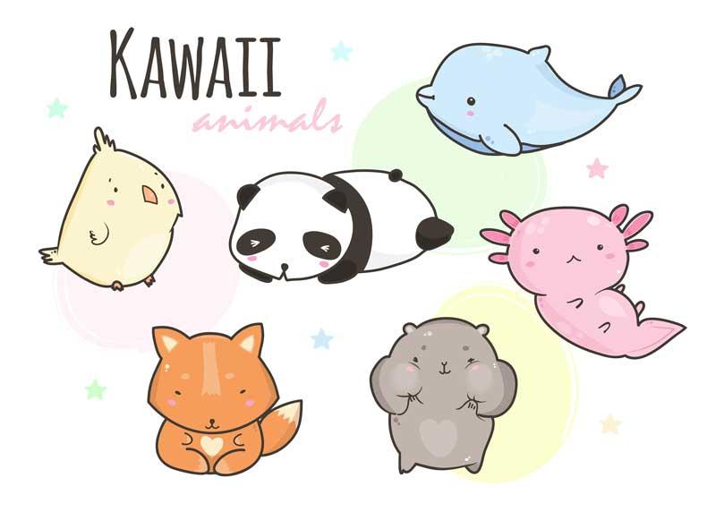 Dibujos kawai de animales marinos
