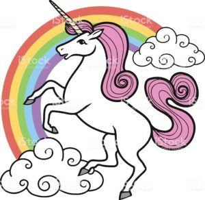 Cartoon unicorn with rainbow and clouds.