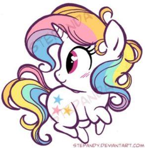 Dibujo kaway unicornios para colorear