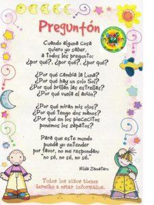 Poesías cortas para niños de inicial