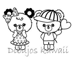 Dibujos infantiles de amor Kawaii para imprimir y colorear
